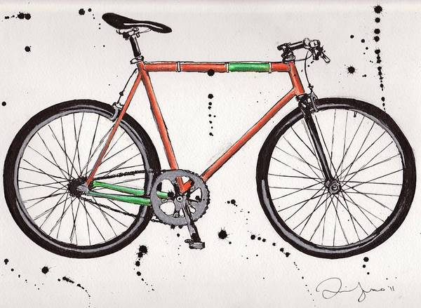 Colored Pencil Poster featuring the drawing Bicyclebicyclebicycle by Emily Jones