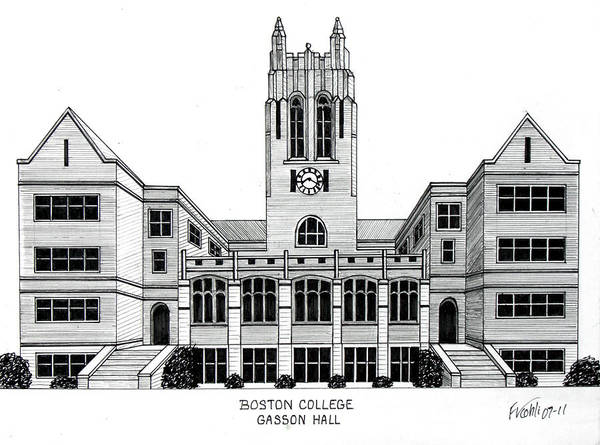 Boston College Drawing Poster featuring the drawing Boston College by Frederic Kohli