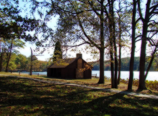 Cabin Poster featuring the photograph Cabin By The Lake by Sandy Keeton