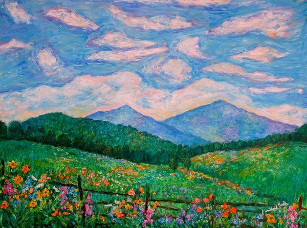 Kendall Kessler Poster featuring the painting Cloud Swirl Over The Peaks Of Otter by Kendall Kessler