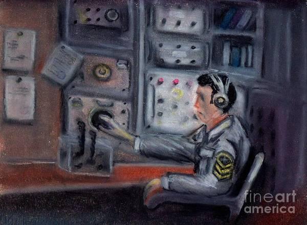Navy Poster featuring the pastel Communications Operator by Kostas Koutsoukanidis