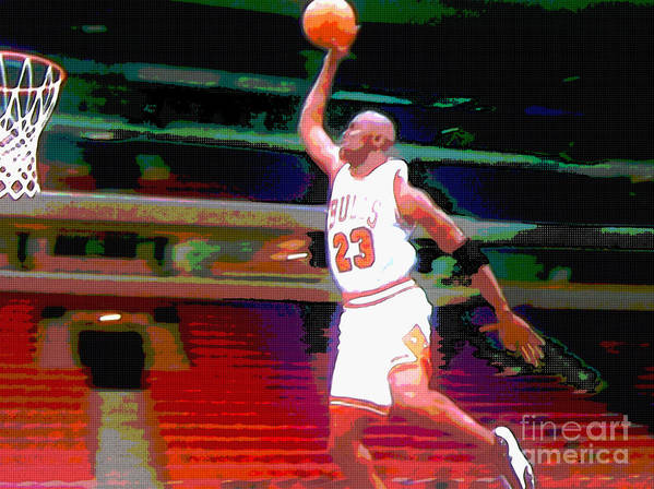 Michael Jordan Poster featuring the digital art Flight by Brandon Ramquist