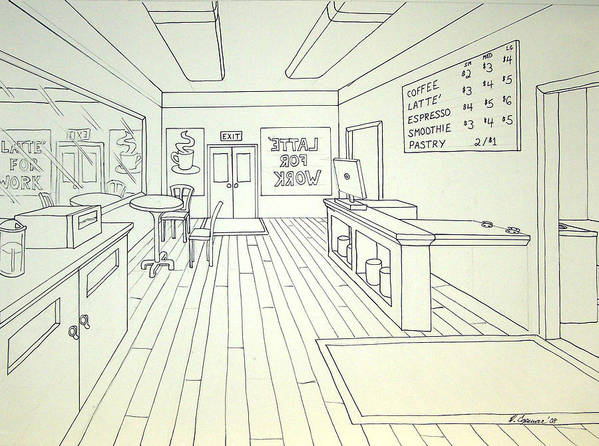 Linear Poster featuring the drawing Latte For Work by Heidi Copeman