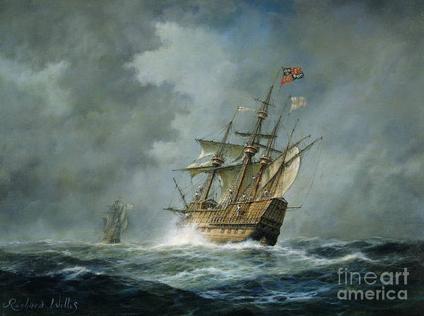 Ship; Ships; Boat; Boats; Tumultuous Seas; Stormy; Water; English Flag; Banner; Sailing; Henry Viii; Grey; Darkened; Ominous Skies; Sky; Wave; Waves; Sea Poster featuring the painting Mary Rose by Richard Willis