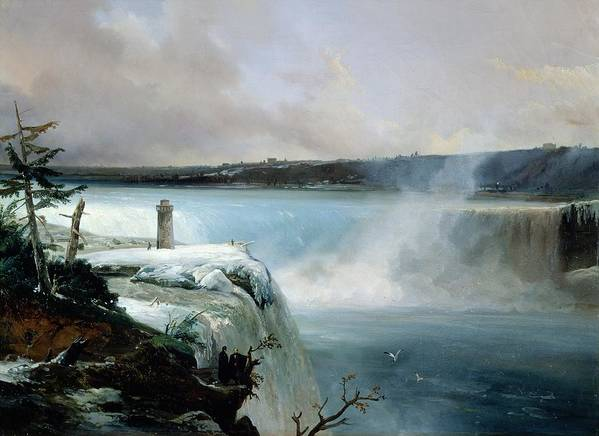 Niagara Poster featuring the painting Niagara Falls by Jean Charles Joseph Remond