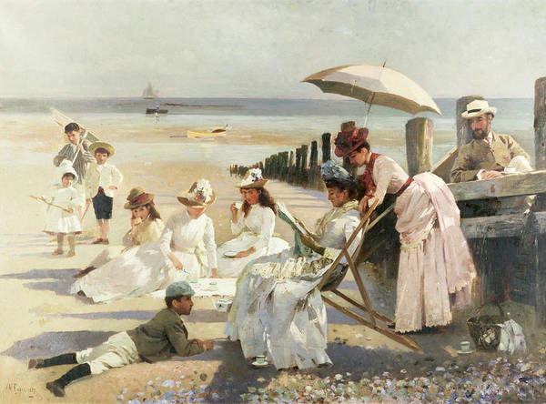 On The Shores Of Bognor Regis - Portrait Group Of The Harford Couple And Their Children Poster featuring the painting On The Shores Of Bognor Regis by Alexander M Rossi