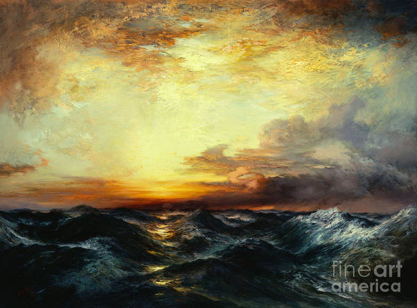 Thomas Moran Poster featuring the painting Pacific Sunset by Thomas Moran