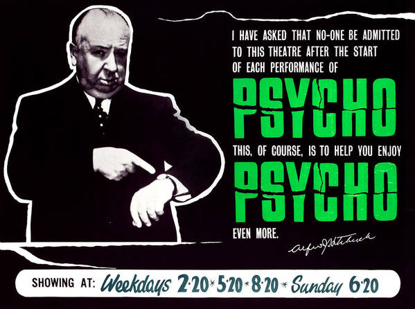 1960 Movies Poster featuring the photograph Psycho, Director Alfred Hitchcock by Everett