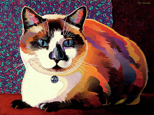 Cat Paintings Poster featuring the painting Puddin by Bob Coonts