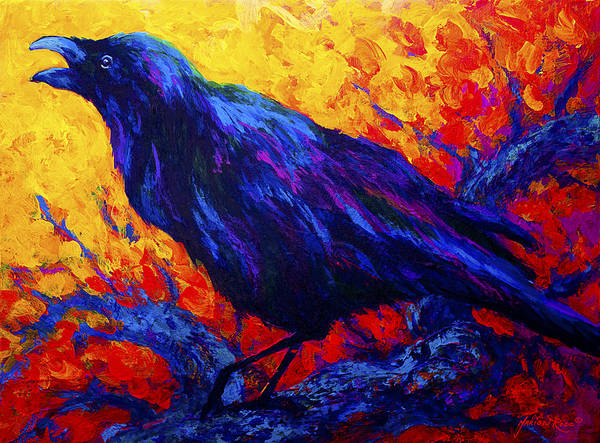 Crows Poster featuring the painting Raven's Echo by Marion Rose