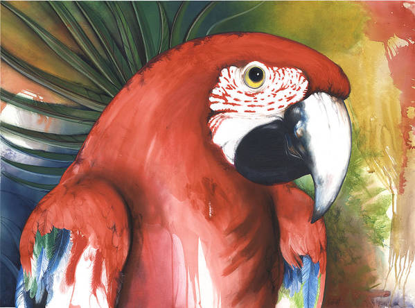 Parrot Poster featuring the mixed media Red Parrot by Anthony Burks Sr