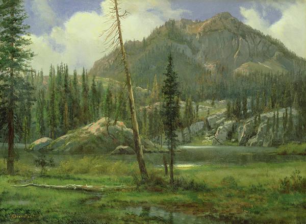 Bierstadt Poster featuring the painting Sierra Nevada Mountains by Albert Bierstadt