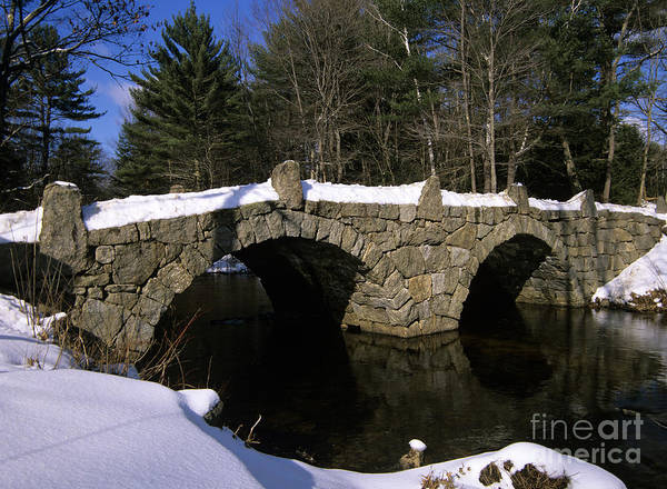 Bridge Poster featuring the photograph Stone Double Arched Bridge - Hillsborough New Hampshire Usa by Erin Paul Donovan