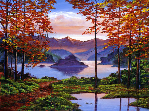 Autumn Landscape Poster featuring the painting Sunset Reverie by David Lloyd Glover