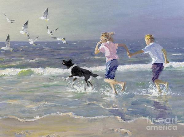 Seaside; Children; Playing; Male; Female; Girl; Boy; Paddling; Pet Dog; Seagulls; Seashore; Sea; Beach; Summer; Holiday; Vacation; Fun; Holding Hands; Splashing; Coastal; Coast; Running; Seagull; Sand; Wave; Waves; Barefoot Poster featuring the painting The Chase by William Ireland