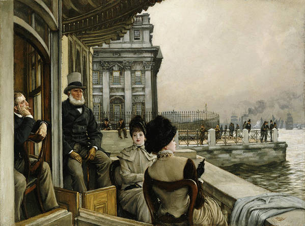 Portrait Poster featuring the painting The Terrace Of The Trafalgar Tavern Greenwich by James Jacques Joseph Tissot