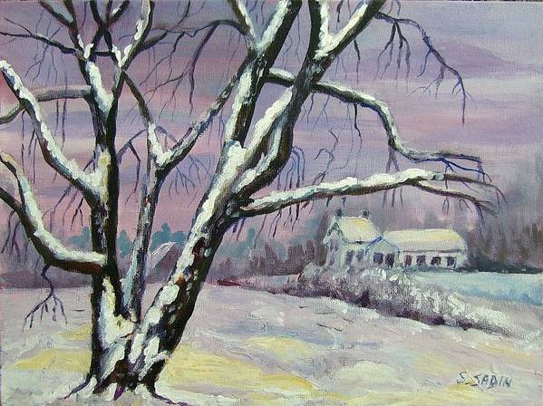 Winter Poster featuring the painting Winter Tree by Saga Sabin