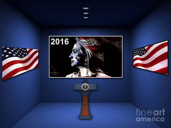 Hillary Clinton Paintings Poster featuring the mixed media Hillary 2016 by Marvin Blaine
