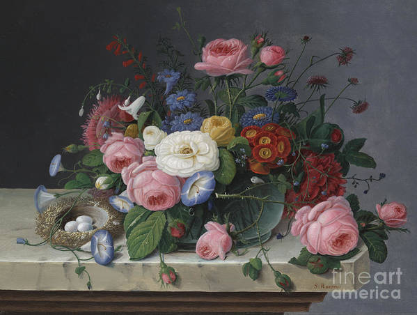 Life Poster featuring the painting Still Life With Flowers And Birds Nest by Severin Roesen