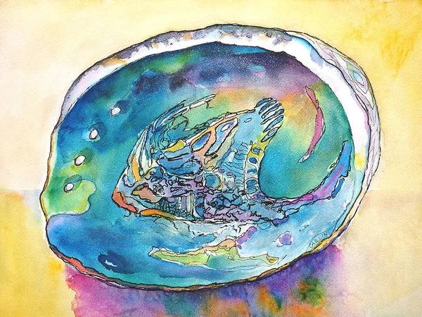 Shell Poster featuring the painting Abalone Shell Tropical Color by Carlin Blahnik