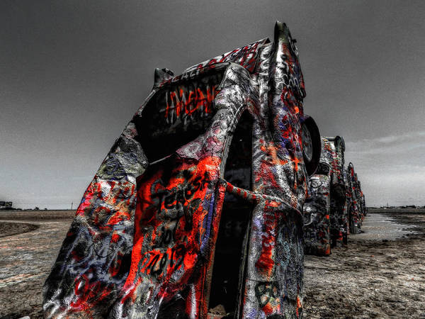 Amarillo Texas Poster featuring the photograph Amarillo - Cadillac Ranch 005 by Lance Vaughn