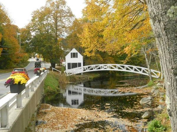 Autumn Poster featuring the photograph Autumn Colors At Somesville Bridge Mount Desert Island Maine by Lena Hatch