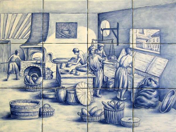 Azulejo Poster featuring the painting Azulejo Portuguese Bakers Tile Mural by Julia Sweda