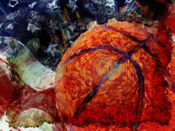 Basketball Poster featuring the digital art Basketball Usa by David G Paul