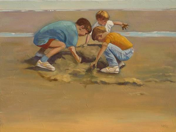 Beach Poster featuring the painting Boys In The Sand by Sue Darius