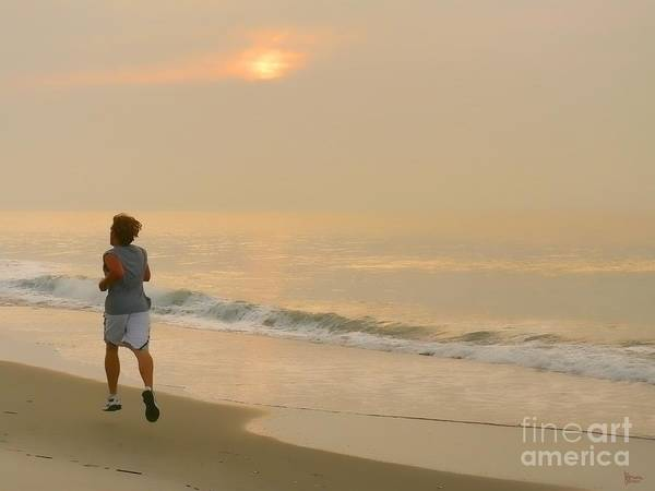 Myrtle Beach Poster featuring the photograph Early Morning Jog by Jeff Breiman