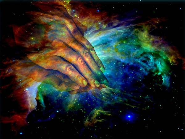 Religious Poster featuring the digital art Hands Of Creation by Evelyn Patrick