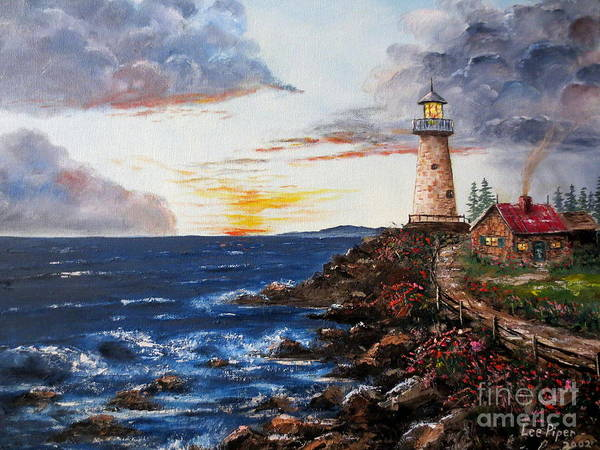 Lighthouse Painting Poster featuring the painting Lighthouse Road At Sunset by Lee Piper