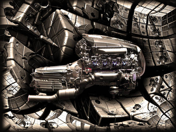 Abstract Poster featuring the photograph Machinery Abstract by Radoslav Nedelchev