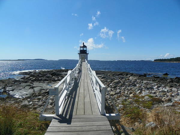 Marshall Point Lighthouse Port Clyde Maine Maine Coast Midcoast Maine New England Lighthouses Poster featuring the photograph Marshall Point Lighthouse From Shoreline by Joseph Rennie
