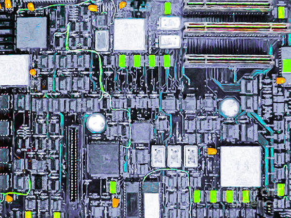 Circuit Board Poster featuring the photograph Motherboard Abstract 20130716 P38 by Wingsdomain Art and Photography