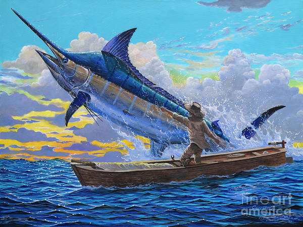 Marlin Poster featuring the painting Old Man's Battle Off00133 by Carey Chen
