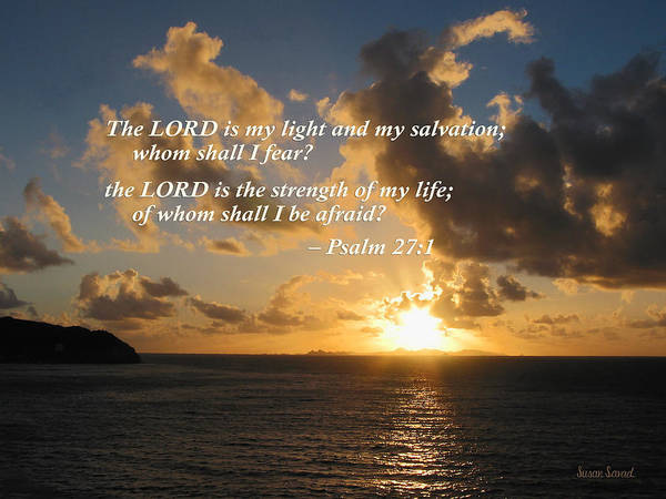 Religious Poster featuring the photograph Psalm 27 1 The Lord Is My Light by Susan Savad