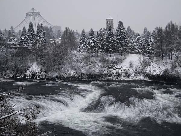 Spokane Poster featuring the photograph Riverfront Park Winter Storm - Spokane Washington by Daniel Hagerman