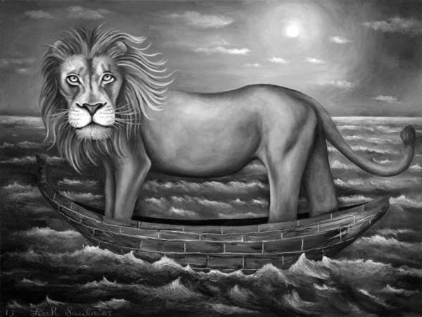 Lion Poster featuring the painting Sea Lion In Bw by Leah Saulnier The Painting Maniac