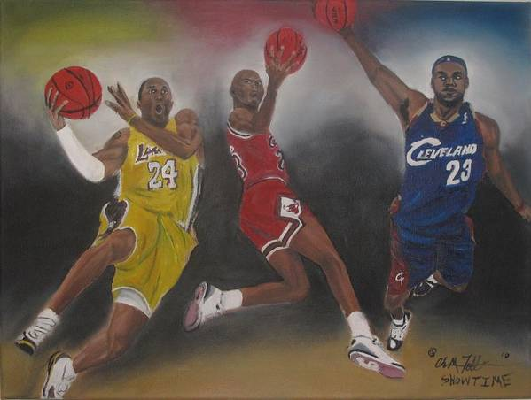 Micheal Jordan Art Poster featuring the painting Showtime by ChrisMoses Tolliver
