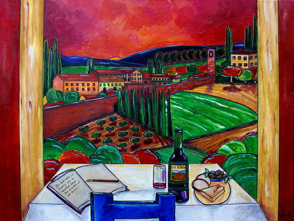 Siena Poster featuring the painting Siena Hillside by Patti Schermerhorn