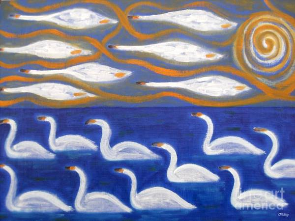 Swans Poster featuring the painting Swans by Patrick J Murphy