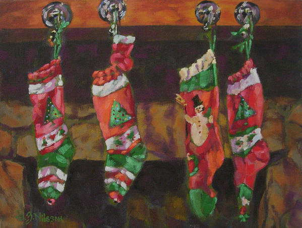 Christmas Poster featuring the painting The Stockings by Gloria Nilsson