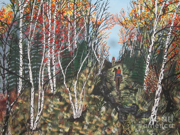 Trail Poster featuring the painting White Birch Trail Ride by Jeffrey Koss