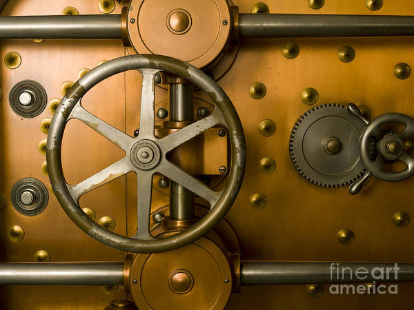 Architectural Poster featuring the photograph Tumbler Bank Vault Door by Adam Crowley