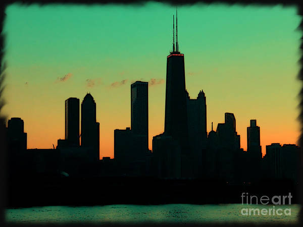 Chicago Poster featuring the photograph Chicago Skyline Cartoon by Sophie Vigneault