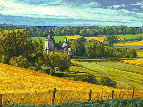 Kasteel Beusdael Sippenaeken Belgium Briex Landscape Impressionism Poster featuring the painting Beusdael Castle Sippenaeken by Nop Briex