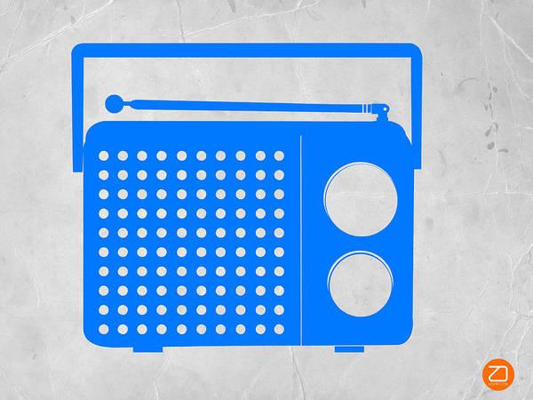 Radio Poster featuring the digital art Blue Transistor Radio by Naxart Studio