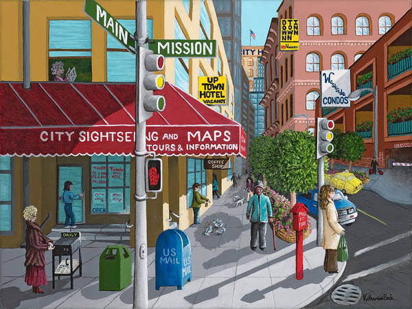 Print Poster featuring the painting City Corner by Katherine Young-Beck