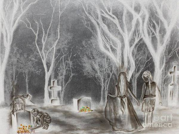 Cemetary Poster featuring the drawing Communion 2 by Carla Carson